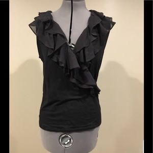 S Lauren Black Ruffled Wrap Tank